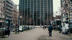 PARIS, FRANCE - DECEMBER, 31, 2016. Steadicam tilt shot of Tour Montparnasse Stock Footage