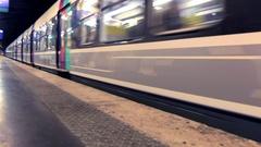 Metro train Paris France Stock Footage