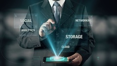 Businessman with Big Data Analytics from Cloud Storage Networking Social Stock Footage