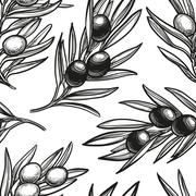 Seamless pattern with olive branch Stock Illustration
