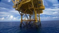Legs of oil platform Stock Footage