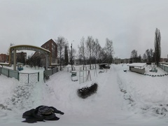 360Vr Video Dull Wintry Cityscape Edge of City Soviet-Style Houses Pipes Small Stock Footage