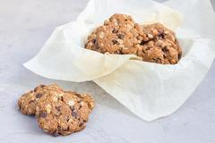 Flourless gluten free peanut butter, oatmeal and chocolate chips cookies on.. Stock Photos