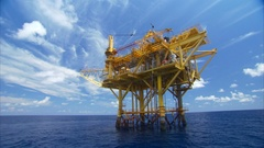 Oil platform blue sky and blue water Stock Footage