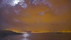 Cinemagraph nature landscape moon night on Mediterranean sea shore time-lapse. Stock Footage