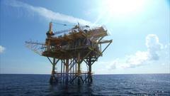 Oil platform in the sun Stock Footage