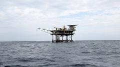 Static oil platform wide shot Stock Footage