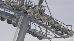 Prop of ski lift with rotating rollers and cable Stock Footage