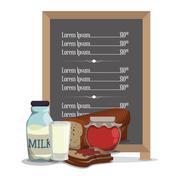Breakfast menu jam bread milk Stock Illustration