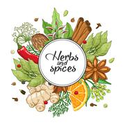 Vector winter round design with spices and herbs Stock Illustration