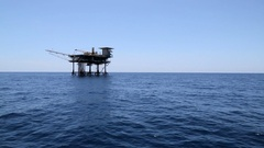 Oil platform in blue water Stock Footage