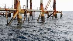 Oil platform legs Stock Footage