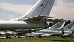 Old aircrafts in national aviation museum in Kiev, Ukraine Stock Footage