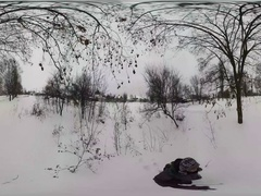 360Vr Video Man Walks by Woodland Along Road Wintry Park Bare Branch Trees Stock Footage