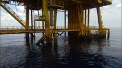 Tilt up to yellow oil platform B Stock Footage