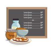 Breakfast menu syrup pancake milk cereal Stock Illustration