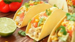 Homemade delicious tacos with chicken and vegetables Stock Footage