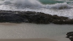 Rough waves at Champagne pools on Fraser Island Stock Footage
