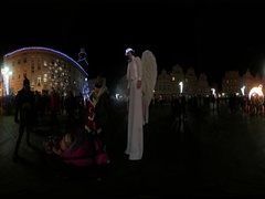 360Vr Video Saint Nicholas' Day in Opole Poland Actors in Angels' Costumes on a Stock Footage