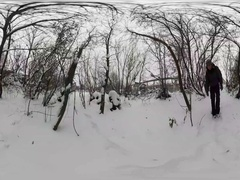 360Vr Video Man Spend Winter Holidays Outdoors Wintry Snowy Park Backpacker Stock Footage
