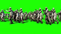 A large crowd of zombies. Apocalypse, halloween concept. 4K green screen Arkistovideo