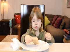 Little child eating pizza and singing at home Stock Footage