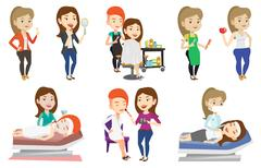 Vector set of people during beauty procedures Stock Illustration