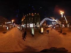 360 vr Video New Year Celebration in Kiev Motion Along Cobblestone Street Night Stock Footage