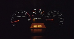 Vehicle with one million kilometers on the odometer Stock Footage