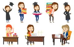 Vector set of student and teachers characters Piirros