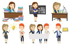 Vector set of student and teachers characters Stock Illustration