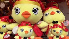 Year of the Rooster, stuffed toys and lanterns in Taipei store, Taiwan Stock Footage