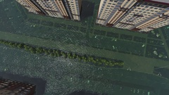 Flood in city aerial view 3d Stock Footage