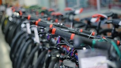 Bikes in sports shop Stock Footage
