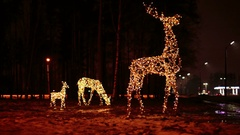 Family of deer bright Christmas illuminations Stock Footage