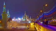 Cinemagraph Moscow Kremlin St Basil's Cathedral at winter night time-lapse Stock Footage