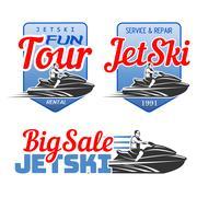 Set of Jet Ski rental, fun tour, service and repair, big sale logo Piirros