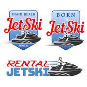 Set of Jet Ski rental, born, logo Piirros