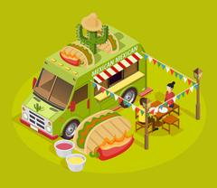 Mexican Food Truck Isometric Advertisement Poster Stock Illustration
