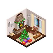 Isometric Lounge Christmas Interior With Fireplace Piirros