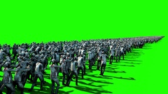 A large crowd of zombies. Apocalypse, halloween concept. 4K green screen Stock Footage