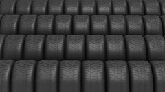 The ranks of automobile tyres Stock Footage