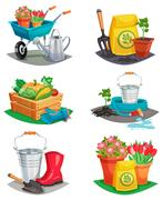 Set Of Isolated Garden Design Compositions Stock Illustration
