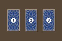 Three card tarot spread. Reverse side Stock Illustration