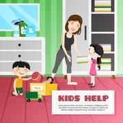 Kid Cleaning Illustration Stock Illustration