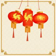 A set of orange-red Chinese lanterns picture of the cherry blossoms and a r.. Stock Illustration