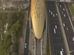 Aerial view of the modern driverless Dubai elevated Rail Metro System. Stock Footage