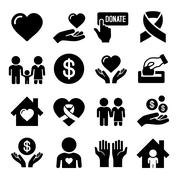 Charity and Care Icons Set Stock Illustration