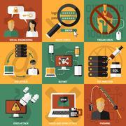 Hacker Attacks Compositions Set Stock Illustration