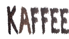 Kaffee (German) word made out of coffee beans- aroma motion effect Stock Footage